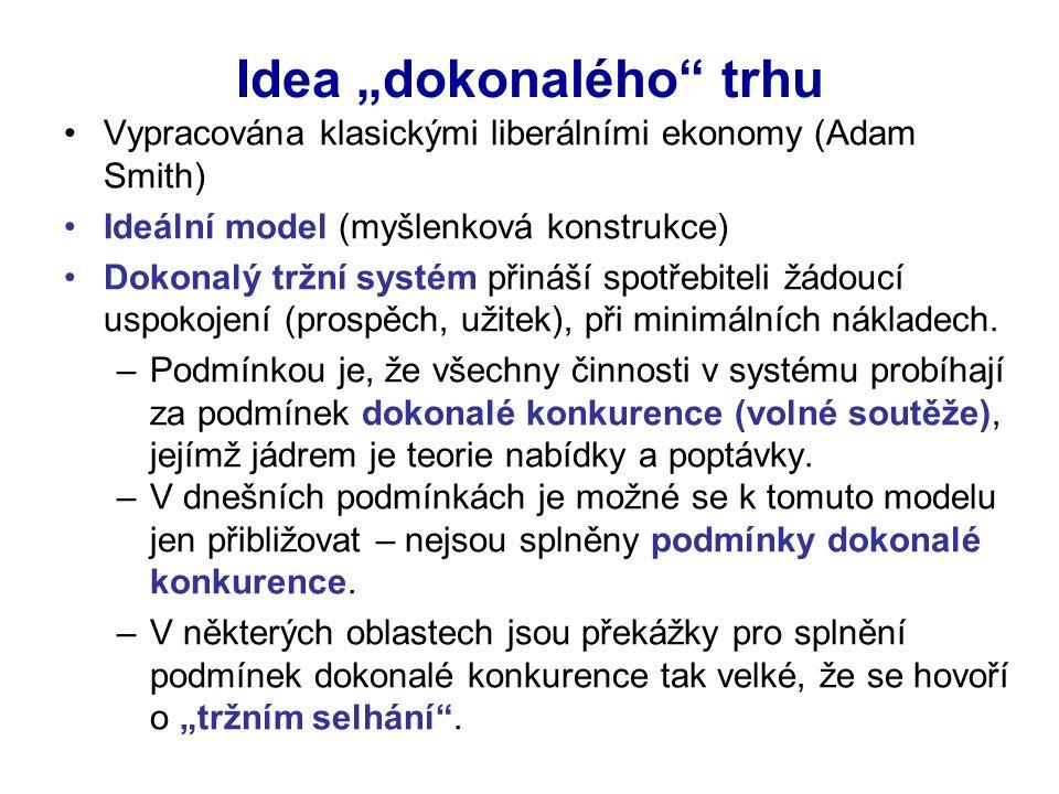 """Idea """"dokonalého trhu Vypracována klasickými liberálními ekonomy (Adam Smith) Ideální model (myšlenková konstrukce) Dokonalý tržní systém přináší spotřebiteli žádoucí uspokojení (prospěch, užitek), při minimálních nákladech."""