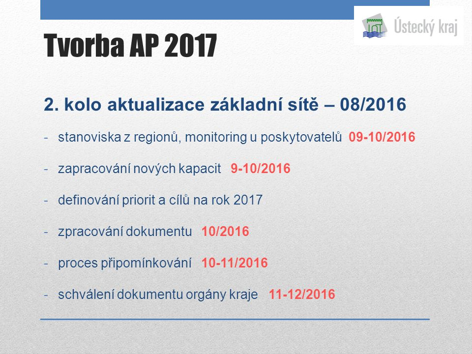 2. kolo aktualizace základní sítě – 08/2016 -stanoviska z regionů, monitoring u poskytovatelů 09-10/2016 -zapracování nových kapacit 9-10/2016 -defino