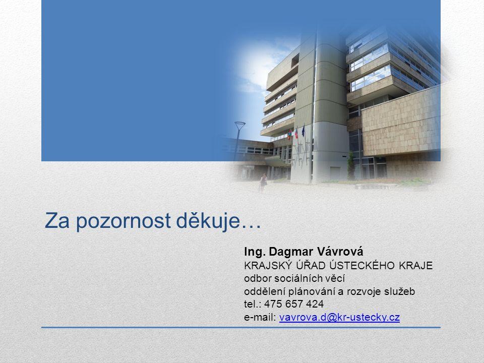 Za pozornost děkuje… Ing. Dagmar Vávrová KRAJSKÝ ÚŘAD ÚSTECKÉHO KRAJE odbor sociálních věcí oddělení plánování a rozvoje služeb tel.: 475 657 424 e-ma