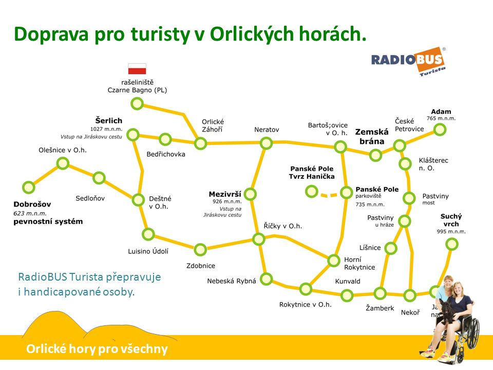 Doprava pro turisty v Orlických horách. Může přepravit i handicapované.