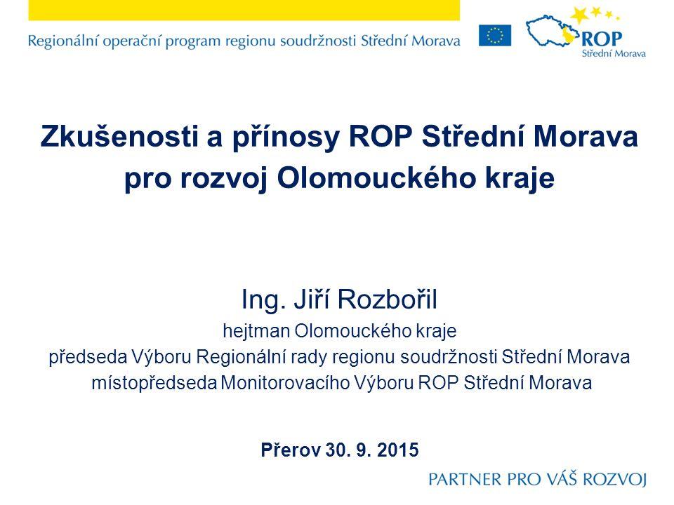 Podíl investic ROP Střední Morava na celkových investicích subjektu Olomoucký kraj a jeho organizací v letech 2007 – 2015 Investice Olomouckého kraje a jeho organizací celkem: 22 133 mil.