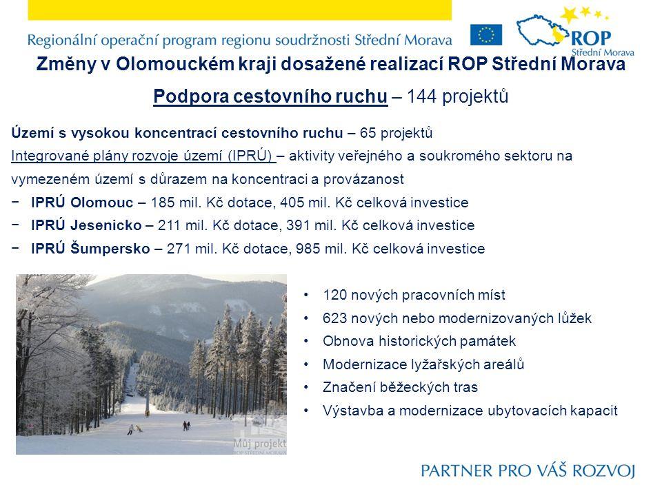 Změny v Olomouckém kraji dosažené realizací ROP Střední Morava Podpora cestovního ruchu – 144 projektů Území s vysokou koncentrací cestovního ruchu – 65 projektů Integrované plány rozvoje území (IPRÚ) – aktivity veřejného a soukromého sektoru na vymezeném území s důrazem na koncentraci a provázanost −IPRÚ Olomouc – 185 mil.