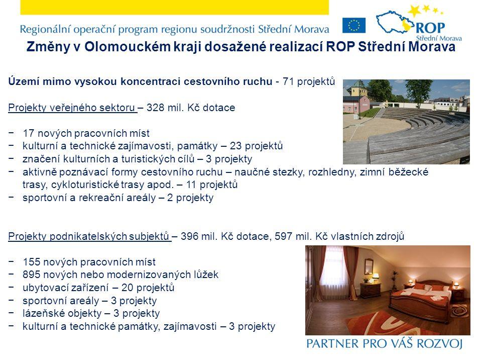 Změny v Olomouckém kraji dosažené realizací ROP Střední Morava Území mimo vysokou koncentraci cestovního ruchu - 71 projektů Projekty veřejného sektoru – 328 mil.
