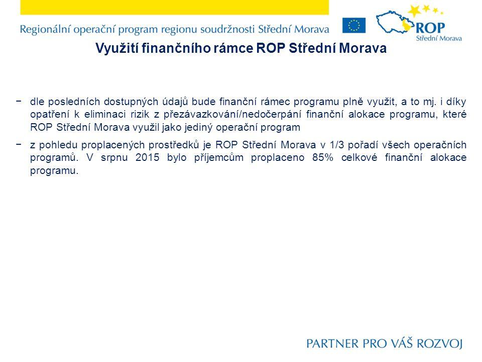 Využití finančního rámce ROP Střední Morava −dle posledních dostupných údajů bude finanční rámec programu plně využit, a to mj.