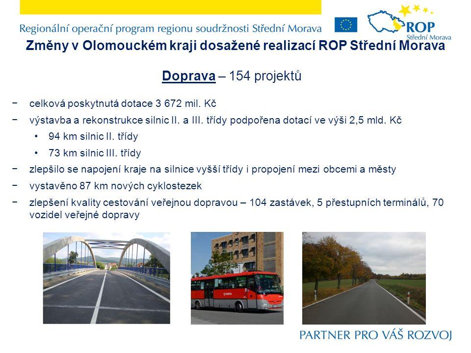 Změny v Olomouckém kraji dosažené realizací ROP Střední Morava Doprava – 154 projektů −celková poskytnutá dotace 3 672 mil. Kč −výstavba a rekonstrukc