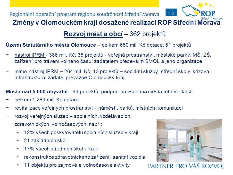 Změny v Olomouckém kraji dosažené realizací ROP Střední Morava Rozvoj měst a obcí – 362 projektů Území Statutárního města Olomouce – celkem 650 mil. K