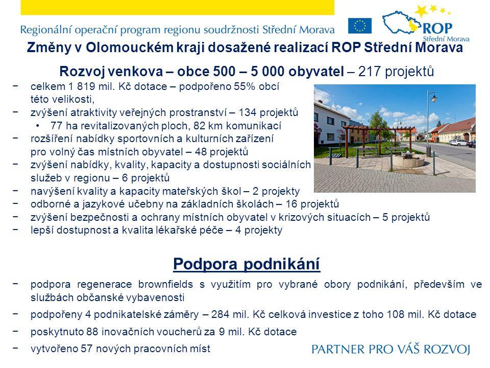 Změny v Olomouckém kraji dosažené realizací ROP Střední Morava Rozvoj venkova – obce 500 – 5 000 obyvatel – 217 projektů −celkem 1 819 mil. Kč dotace