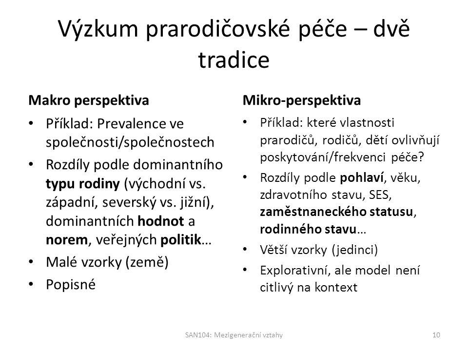 Výzkum prarodičovské péče – dvě tradice Makro perspektiva Příklad: Prevalence ve společnosti/společnostech Rozdíly podle dominantního typu rodiny (východní vs.
