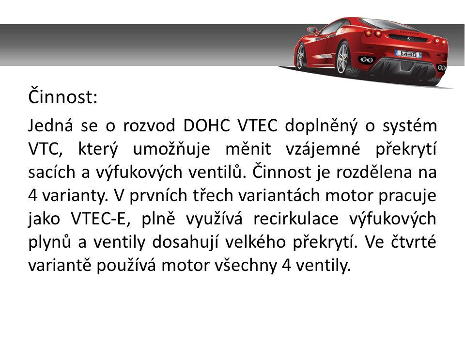 Činnost: Jedná se o rozvod DOHC VTEC doplněný o systém VTC, který umožňuje měnit vzájemné překrytí sacích a výfukových ventilů.