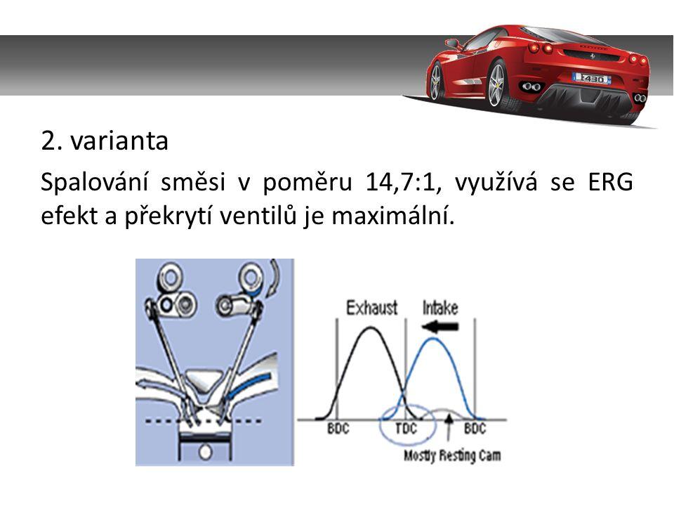 2. varianta Spalování směsi v poměru 14,7:1, využívá se ERG efekt a překrytí ventilů je maximální.