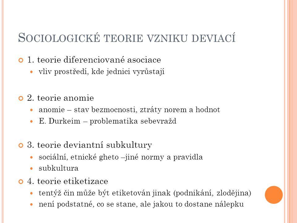 S OCIOLOGICKÉ TEORIE VZNIKU DEVIACÍ 1.