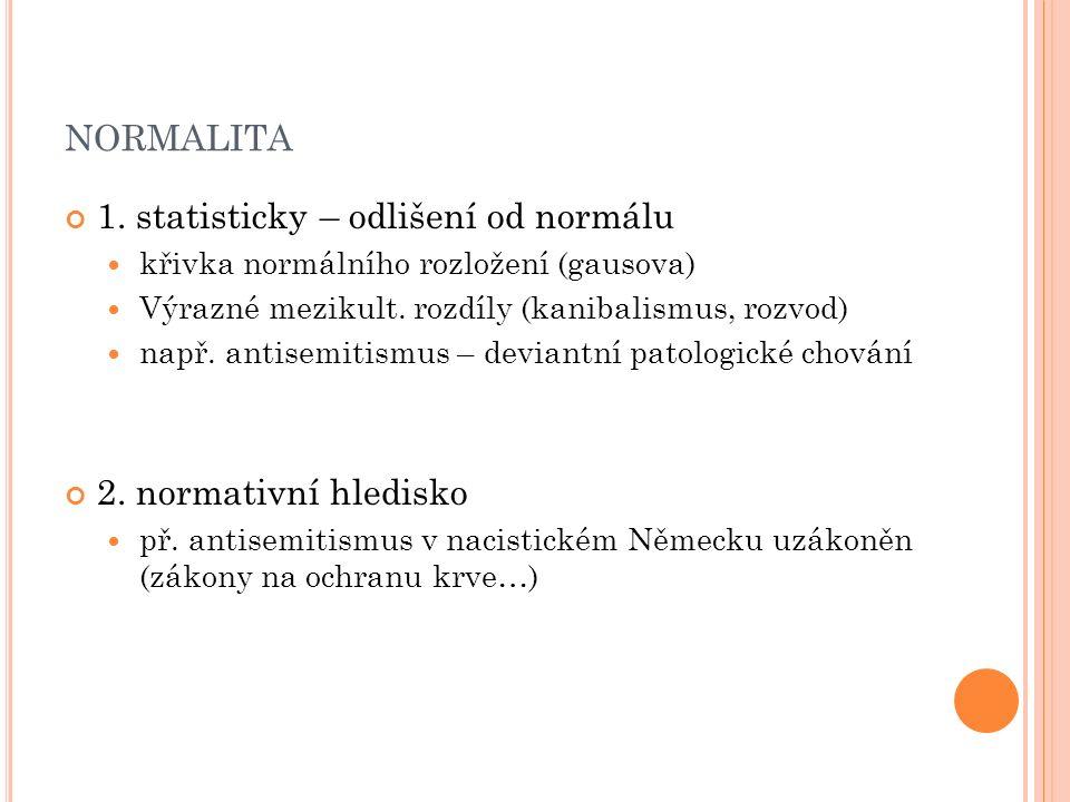 NORMALITA 1. statisticky – odlišení od normálu křivka normálního rozložení (gausova) Výrazné mezikult. rozdíly (kanibalismus, rozvod) např. antisemiti