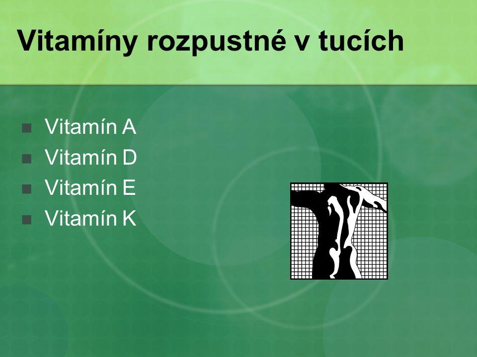 Vitamíny rozpustné v tucích Vitamín A Vitamín D Vitamín E Vitamín K