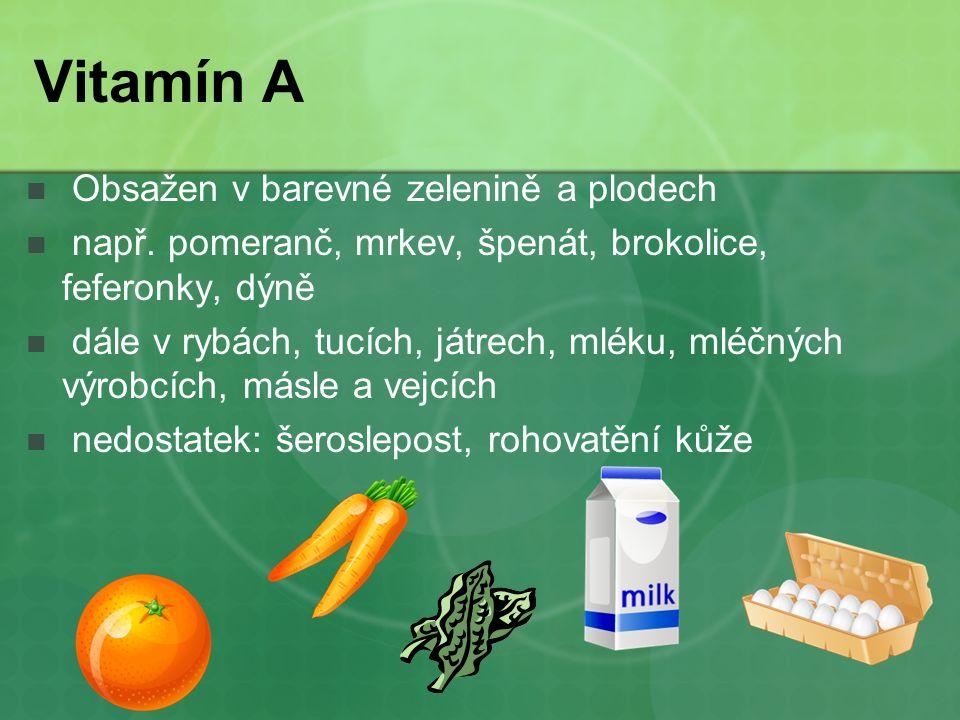 Vitamín A Obsažen v barevné zelenině a plodech např.