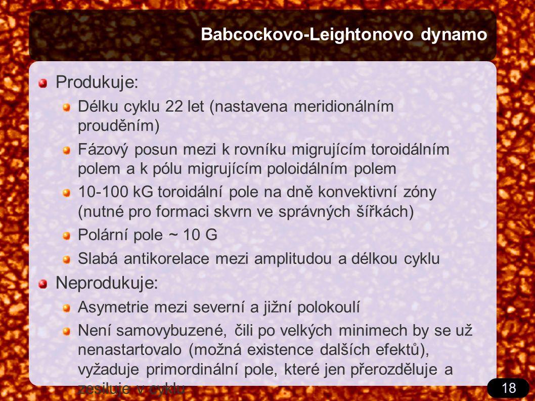 18 Babcockovo-Leightonovo dynamo Produkuje: Délku cyklu 22 let (nastavena meridionálním prouděním) Fázový posun mezi k rovníku migrujícím toroidálním