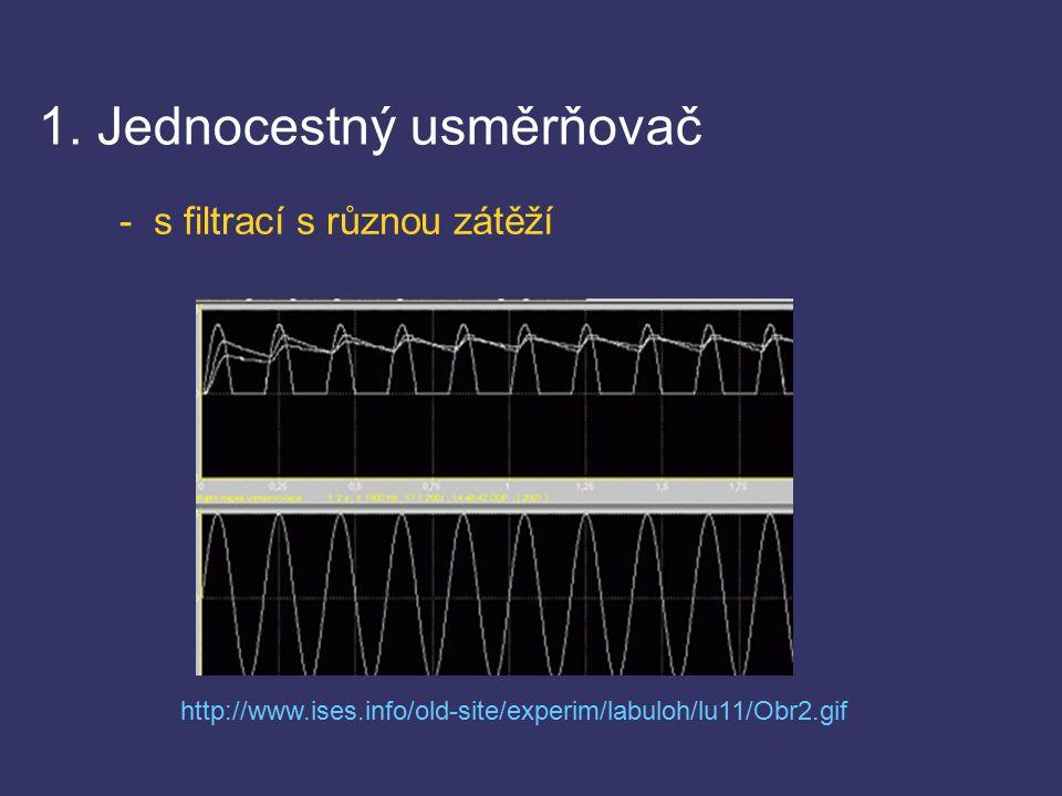 1. Jednocestný usměrňovač - s filtrací s různou zátěží http://www.ises.info/old-site/experim/labuloh/lu11/Obr2.gif