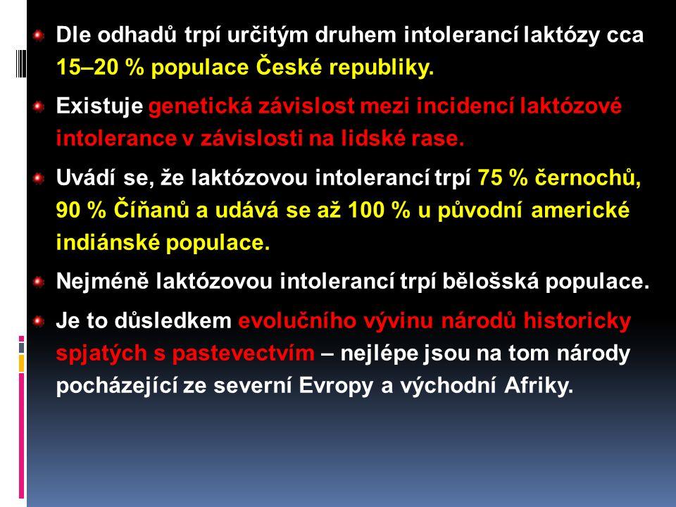 Dle odhadů trpí určitým druhem intolerancí laktózy cca 15–20 % populace České republiky.