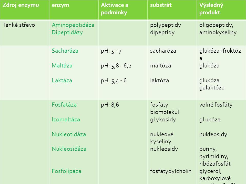 Zdroj enzymuenzymAktivace a podmínky substrátVýsledný produkt Tenké střevoAminopeptidáza Dipeptidázy polypeptidy dipeptidy oligopeptidy, aminokyseliny Sacharáza Maltáza Laktáza pH: 5 - 7 pH: 5,8 - 6,2 pH: 5,4 - 6 sacharóza maltóza laktóza glukóza+fruktóz a glukóza glukóza galaktóza Fosfatáza Izomaltáza Nukleotidáza Nukleosidáza Fosfolipáza pH: 8,6fosfáty biomolekul gl ykosidy nukleové kyseliny nukleosidy fosfatydylcholin volné fosfáty gl ukóza nukleosidy puriny, pyrimidiny, ribózafosfát glycerol, karboxylové kyseliny, fosfát