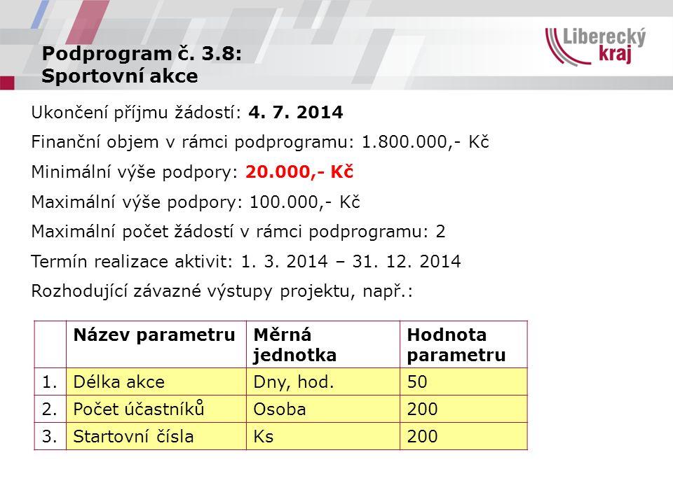 Podprogram č. 3.8: Sportovní akce Ukončení příjmu žádostí: 4.