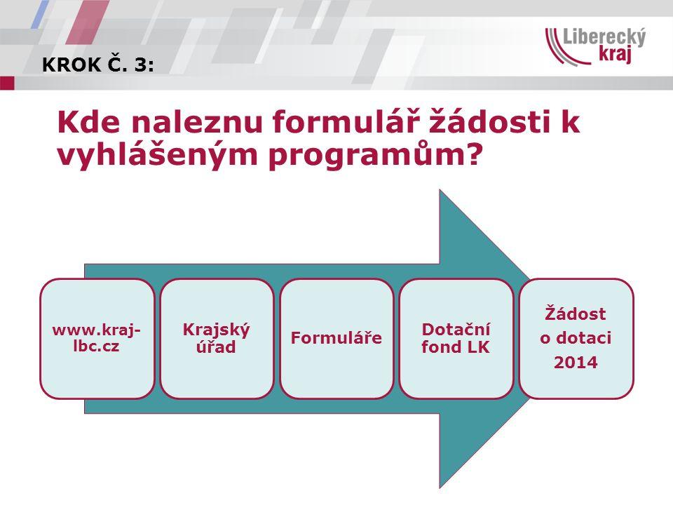 KROK Č. 3: Kde naleznu formulář žádosti k vyhlášeným programům.