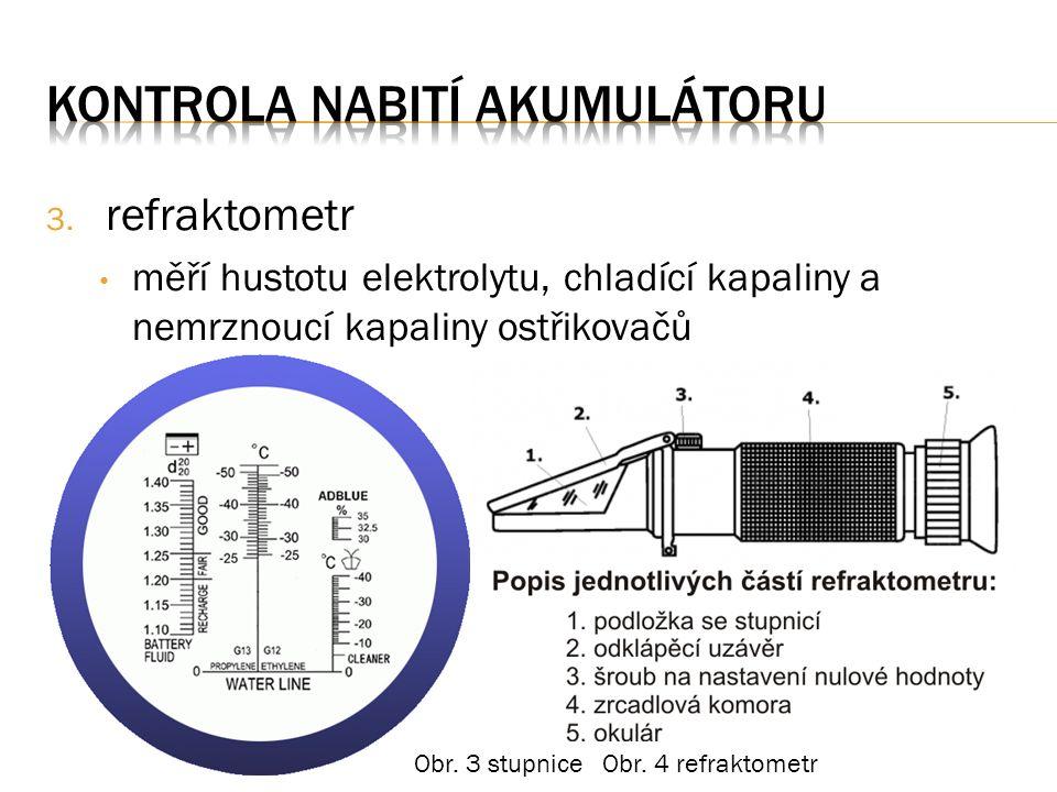 3. refraktometr měří hustotu elektrolytu, chladící kapaliny a nemrznoucí kapaliny ostřikovačů Obr.