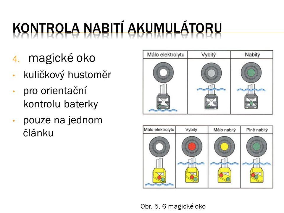 4. magické oko kuličkový hustoměr pro orientační kontrolu baterky pouze na jednom článku Obr.
