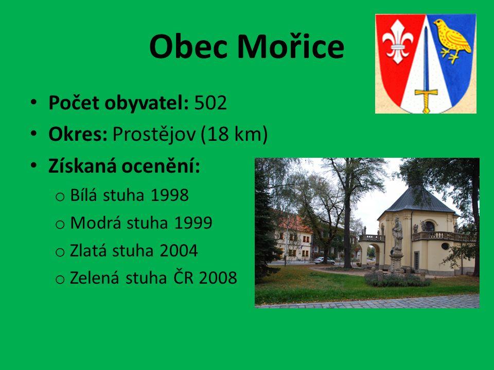 Obec Mořice Počet obyvatel: 502 Okres: Prostějov (18 km) Získaná ocenění: o Bílá stuha 1998 o Modrá stuha 1999 o Zlatá stuha 2004 o Zelená stuha ČR 2008