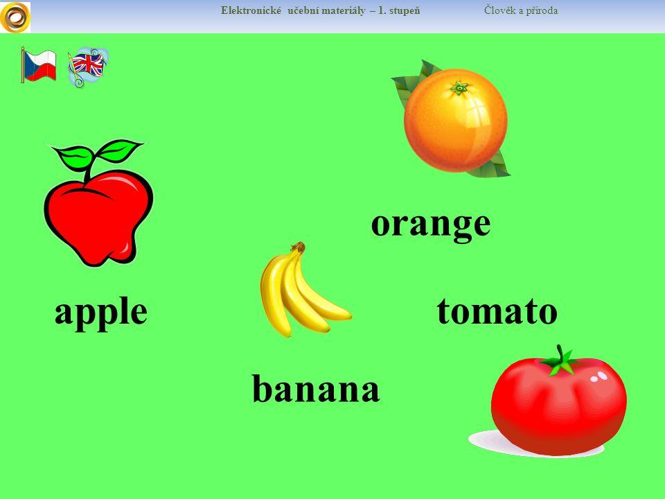 Elektronické učební materiály – 1. stupeň Člověk a příroda appletomato orange banana