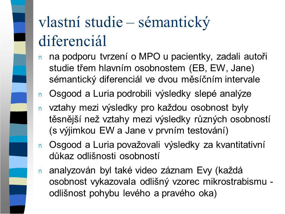 vlastní studie – sémantický diferenciál n na podporu tvrzení o MPO u pacientky, zadali autoři studie třem hlavním osobnostem (EB, EW, Jane) sémantický