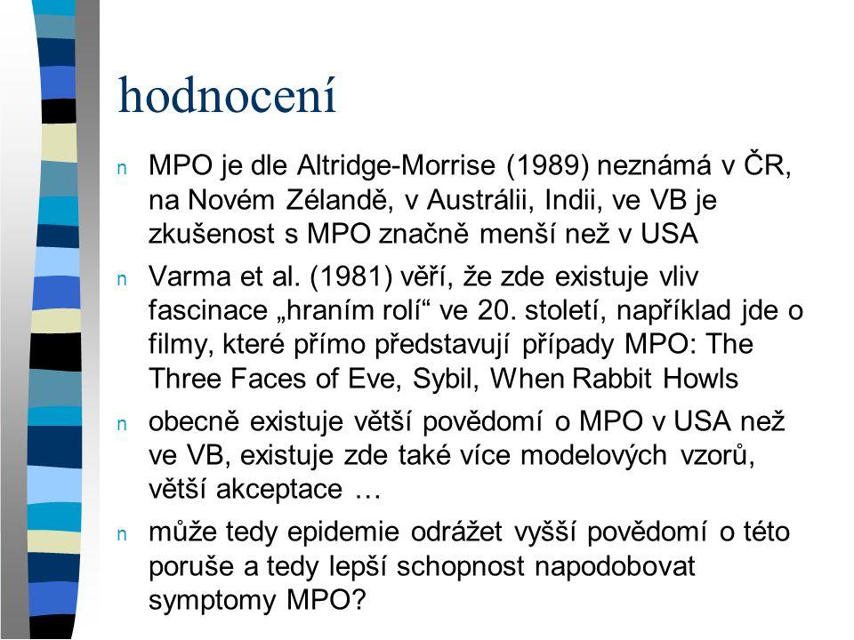 hodnocení n MPO je dle Altridge-Morrise (1989) neznámá v ČR, na Novém Zélandě, v Austrálii, Indii, ve VB je zkušenost s MPO značně menší než v USA n V