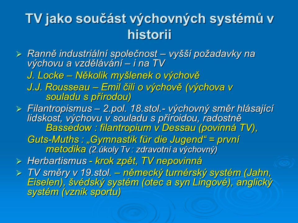 TV jako součást výchovných systémů v historii  Ranně industriální společnost – vyšší požadavky na výchovu a vzdělávání – i na TV J. Locke – Několik m
