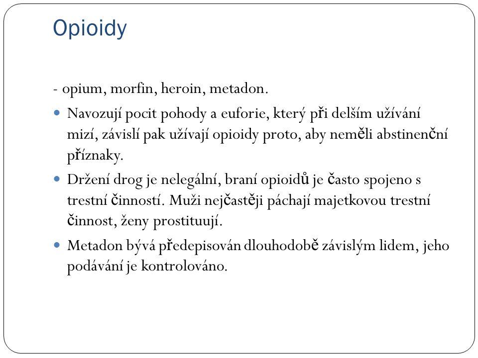 Opioidy - opium, morfin, heroin, metadon.