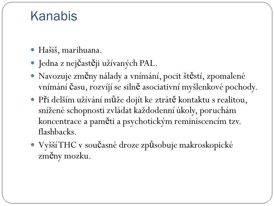 Kanabis Hašiš, marihuana.Jedna z nej č ast ě ji užívaných PAL.