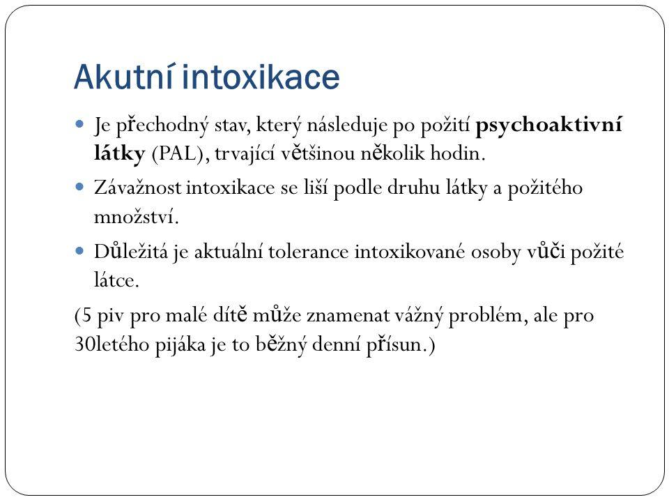 Akutní intoxikace Je p ř echodný stav, který následuje po požití psychoaktivní látky (PAL), trvající v ě tšinou n ě kolik hodin.