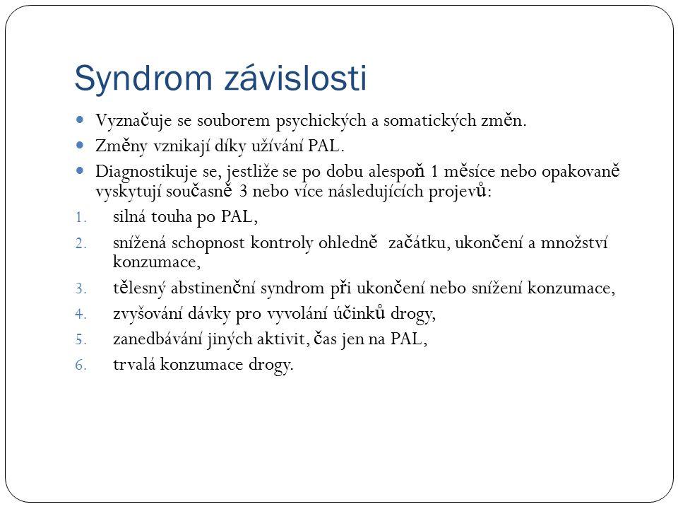 Syndrom závislosti Vyzna č uje se souborem psychických a somatických zm ě n.