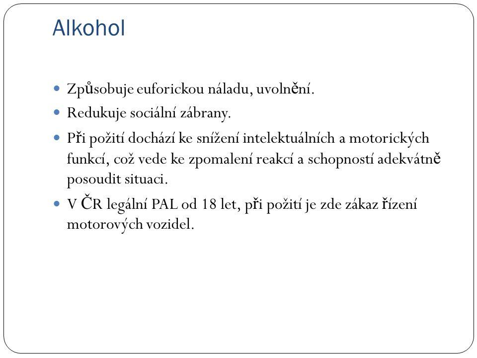 Alkohol Zp ů sobuje euforickou náladu, uvoln ě ní.