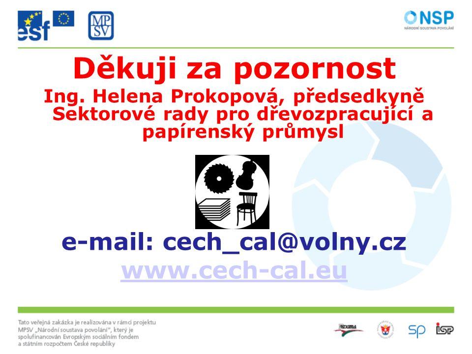 Děkuji za pozornost Ing. Helena Prokopová, předsedkyně Sektorové rady pro dřevozpracující a papírenský průmysl e-mail: cech_cal@volny.cz www.cech-cal.