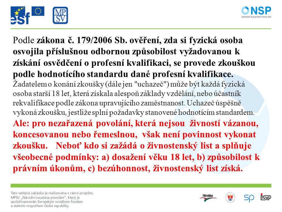 Podle zákona č. 179/2006 Sb. ověření, zda si fyzická osoba osvojila příslušnou odbornou způsobilost vyžadovanou k získání osvědčení o profesní kvalifi