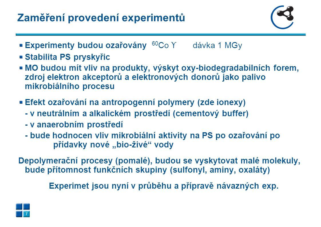 """Zaměření provedení experimentů 7 Experimenty budou ozařovány 60 Co ϒ dávka 1 MGy Stabilita PS pryskyřic MO budou mít vliv na produkty, výskyt oxy-biodegradabilních forem, zdroj elektron akceptorů a elektronových donorů jako palivo mikrobiálního procesu Efekt ozařování na antropogenní polymery (zde ionexy) - v neutrálním a alkalickém prostředí (cementový buffer) - v anaerobním prostředí - bude hodnocen vliv mikrobiální aktivity na PS po ozařování po přídavky nové """"bio-živé vody Depolymerační procesy (pomalé), budou se vyskytovat malé molekuly, bude přítomnost funkčních skupiny (sulfonyl, aminy, oxaláty) Experimet jsou nyní v průběhu a přípravě návazných exp."""