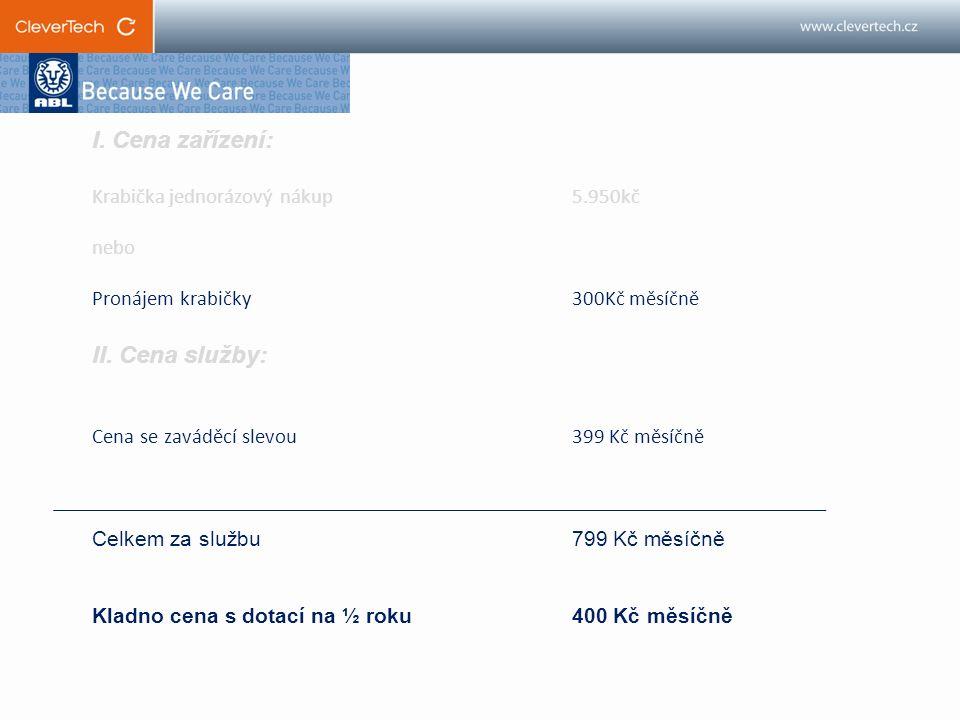 I. Cena zařízení: Krabička jednorázový nákup 5.950kč nebo Pronájem krabičky 300Kč měsíčně II.