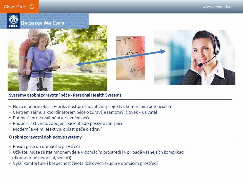 Systémy osobní zdravotní péče - Personal Health Systems Nová moderní oblast – příležitost pro inovativní projekty s komerčním potenciálem Centrem zájmu a koordinátorem péče o zdraví je samotný člověk – uživatel Potenciál pro zkvalitnění a zlevnění péče Podpora aktivního zapojení pacienta do poskytování péče Moderní a velmi efektivní oblast péče o zdraví Osobní zdravotní dohledové systémy Posun péče do domácího prostředí Uživatel může zůstat mnohem déle v domácím prostředí i v případě vážnějších komplikací (dlouhodobě nemocní, senioři) Vyšší komfort ale i bezpečnost života rizikových skupin v domácím prostředí