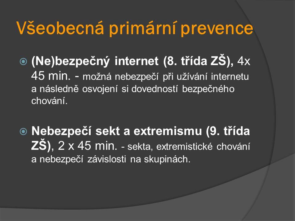 Všeobecná primární prevence  (Ne)bezpečný internet (8.