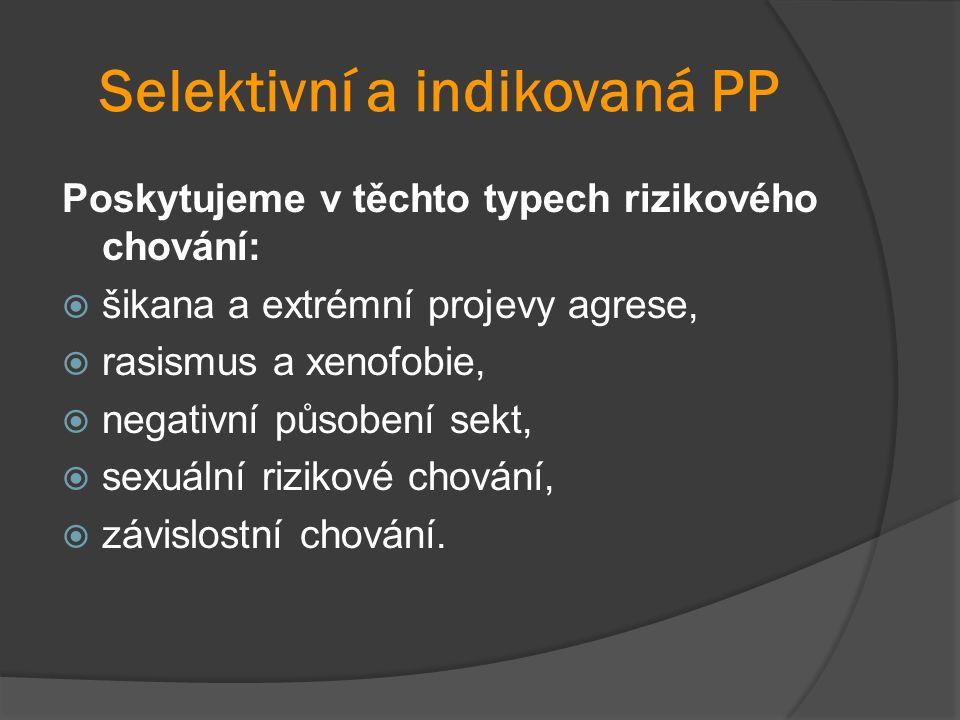 Selektivní a indikovaná PP Poskytujeme v těchto typech rizikového chování:  šikana a extrémní projevy agrese,  rasismus a xenofobie,  negativní působení sekt,  sexuální rizikové chování,  závislostní chování.
