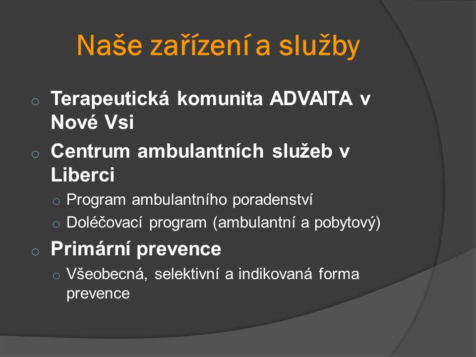 Naše zařízení a služby o Terapeutická komunita ADVAITA v Nové Vsi o Centrum ambulantních služeb v Liberci o Program ambulantního poradenství o Doléčovací program (ambulantní a pobytový) o Primární prevence o Všeobecná, selektivní a indikovaná forma prevence