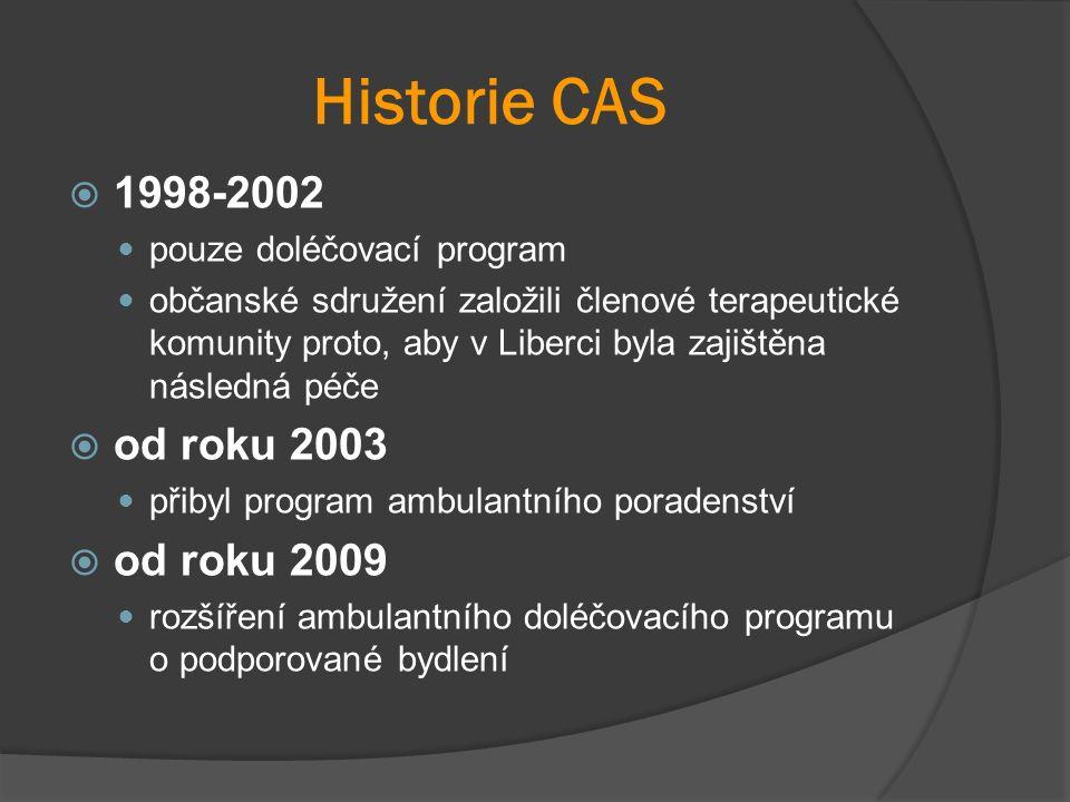 Historie CAS  1998-2002 pouze doléčovací program občanské sdružení založili členové terapeutické komunity proto, aby v Liberci byla zajištěna následná péče  od roku 2003 přibyl program ambulantního poradenství  od roku 2009 rozšíření ambulantního doléčovacího programu o podporované bydlení