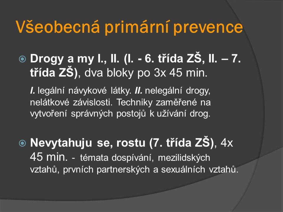 Všeobecná primární prevence  Drogy a my I., II. (I.