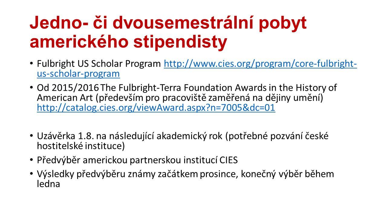 Jedno- či dvousemestrální pobyt amerického stipendisty Fulbright US Scholar Program http://www.cies.org/program/core-fulbright- us-scholar-programhttp://www.cies.org/program/core-fulbright- us-scholar-program Od 2015/2016 The Fulbright-Terra Foundation Awards in the History of American Art (především pro pracoviště zaměřená na dějiny umění) http://catalog.cies.org/viewAward.aspx n=7005&dc=01 http://catalog.cies.org/viewAward.aspx n=7005&dc=01 Uzávěrka 1.8.