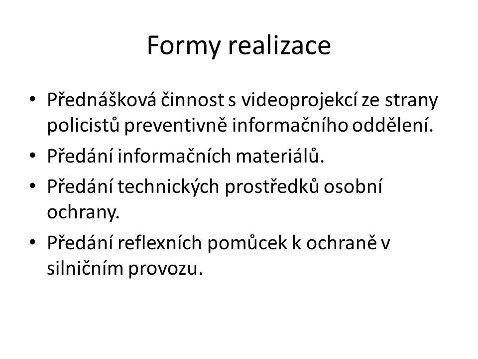 Formy realizace Přednášková činnost s videoprojekcí ze strany policistů preventivně informačního oddělení. Předání informačních materiálů. Předání tec