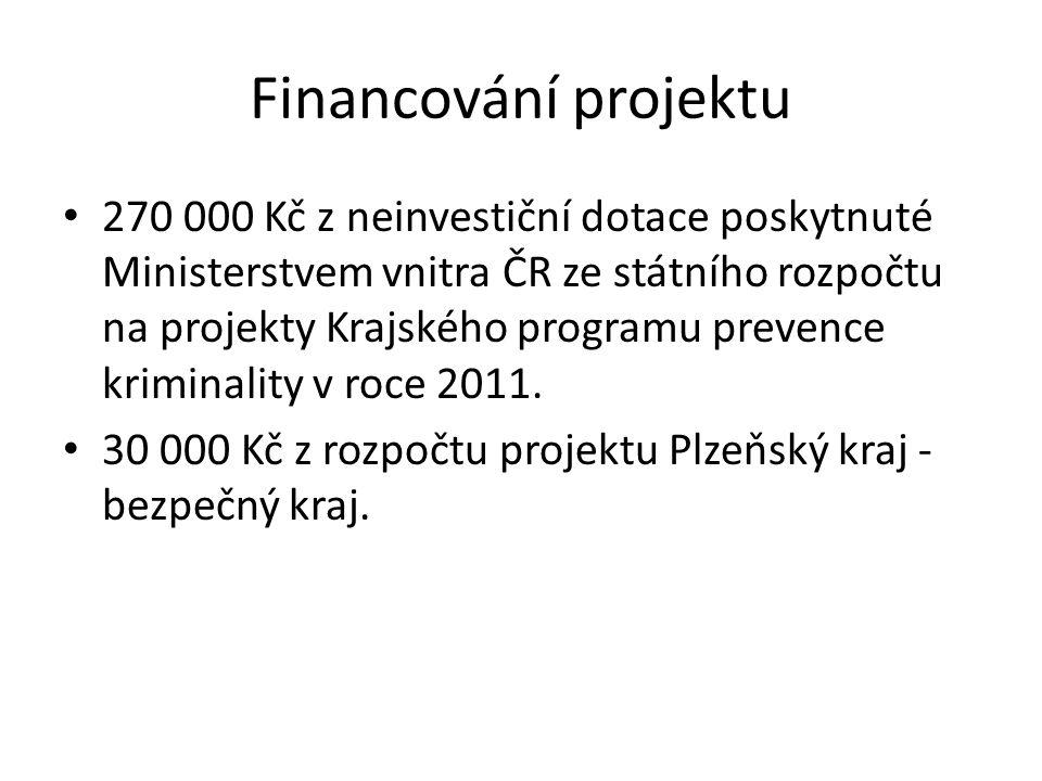 Financování projektu 270 000 Kč z neinvestiční dotace poskytnuté Ministerstvem vnitra ČR ze státního rozpočtu na projekty Krajského programu prevence kriminality v roce 2011.