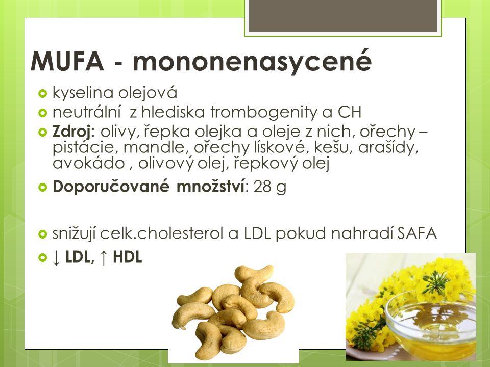 MUFA - mononenasycené  kyselina olejová  neutrální z hlediska trombogenity a CH  Zdroj: olivy, řepka olejka a oleje z nich, ořechy – pistácie, mandle, ořechy lískové, kešu, arašídy, avokádo, olivový olej, řepkový olej  Doporučované množství : 28 g  snižují celk.cholesterol a LDL pokud nahradí SAFA  ↓ LDL, ↑ HDL